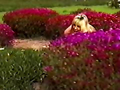Fake tits chick jumps out of shrub naked & flashes traffic