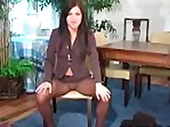 Sexy action in black pantyhose
