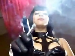 dad wstch hot mistress smokes in her sexy latex dress