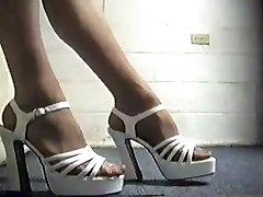 White strappy high heel platform sandals