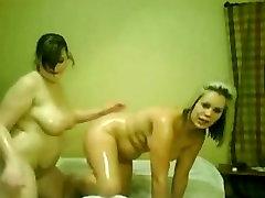 2 Horny fat Chubby Lesbians GF rubbing their wet bodies