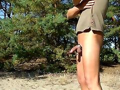 E-Stim outdoor ,Public real webcam live fuck in wood, jerking off