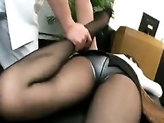 Pantyhosed Asian cutie with sexy long she male part gets massaged an