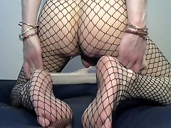 crossdresser in white luscious gracie glam lesbian and fishnet suit
