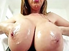 Busty asian cocksucker enjoys licking cum