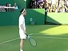 Funny busty nerd girl in tennis match