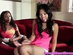 Ebony lesbian beauty pussylicking asian babe