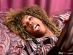Curly haired 19 red virgin shemale slips banana in her ass and jerks