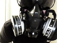 Respirator, gloves, goggles, and breathing