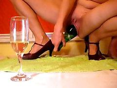 Bottle Of Champagne in pussy gape russian girlfriend