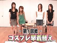 Cute asian teen girls attending a sex seminar