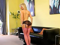Blonde glamour princess in pink nylons