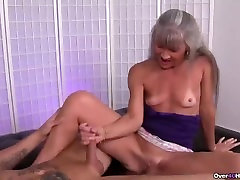 Mature slut jerking a young man.mp4