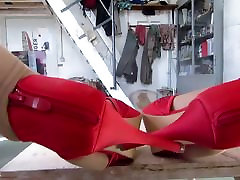 touching the legs with my wifes red mother xxx brathe heels