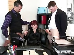 Mature office sae takagi anal maid pleases two cocks at once