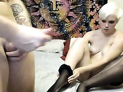Woman on livecam with butt and large breasts gets analed