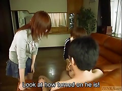Subtitled Japanese virgin off femdom duo with handjob cumshot