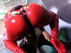 Latex mistress using her buetiful muslim strapon