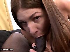 Black man fucks white girl in real porn casting interracial