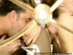 Slutty brunette whore and sexy ebony chick are sucking