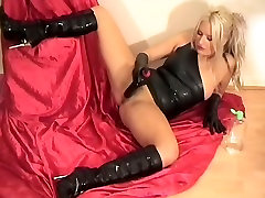 Baby Oil and Masturbation in Fuck me Boots & Black Latex