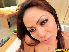 Postop asian ladyboy cocksucking before sex