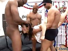 Asian brunette got fucked by the fellas real hard