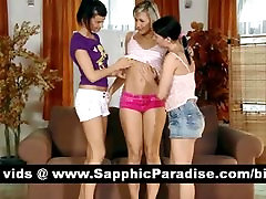 Lovely blonde and brunette lesbians kissing in a great three way lesbian orgy