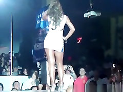 Hot latin chick upskirted in the runway