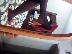 Nylon Foot Mirror Tease