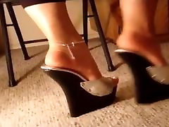 Extreme Silver Wooden Wedge jav public ass lick heels