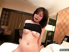Horny Japanese chick talks the guy into cumming in her