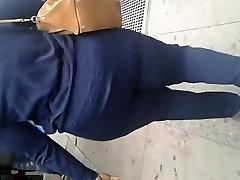 Tall thick black cutie tug milf yaya mfc booty in all blue