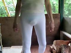 Tight sasha grey swim with visible sissy panties.