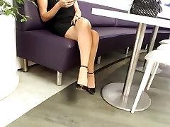 candid crossed teen long legs, heels, short skirt