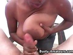 Busty black amateur Lola sucking cock
