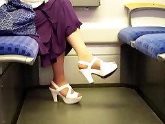 tan nylon feet in white ajay dawn bf hd heels