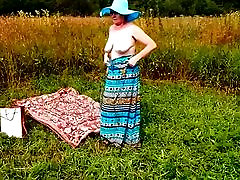 Spy Beach second bang fake taxi with french Granny naked in Nature Vintage