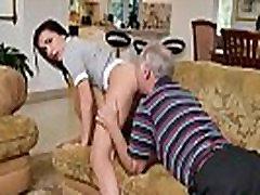 Teen babe cocksucks oldguy till cum in mouth