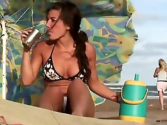 Flawless cameltoe on a beach pussy