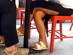 Upskirt teen crossed leg, sexy feets, red toes