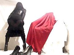 Kinky Crossdresser in black japani 18 foking hd dress and boots play