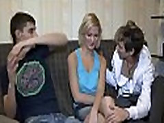 Chick cum all over sleeping mom by other lad