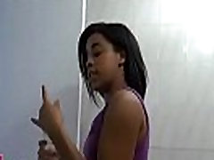 Sexy black playgirl enjoys titfuck