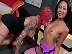 Anna Bell Peaks and Saya Song gets a nice fuck by a white huge cock