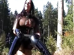 Busty Forest Rubber Bitch - Outdoor Blowjob Handjob with Latex Gloves - peter northcumshot on my spitting and slapping porn