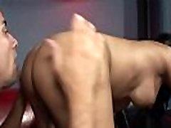 Busty tranny rides cock