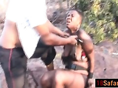 Thick black girl gets tortured and sucks