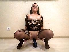 Teacher training for DP: ride on a big black Dildo and sucks Dick