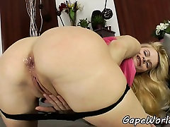 Assfucked babe loves showing her gaping hole